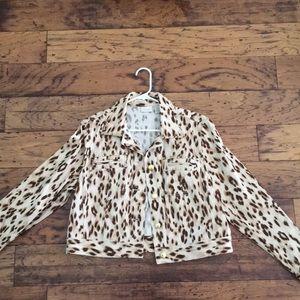 Cropped Leopard Print Jean Jacket